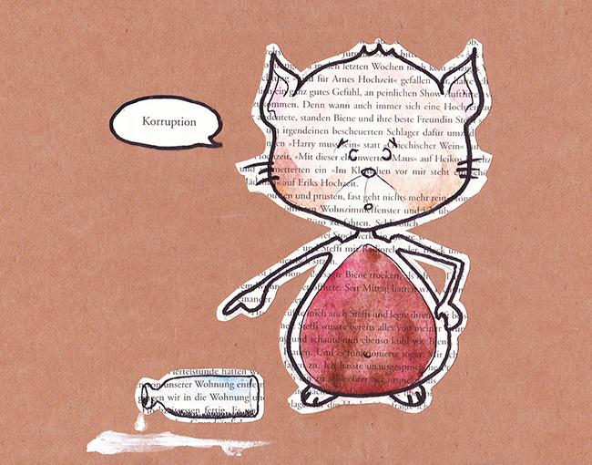 Katzen Illustration auf Pappe