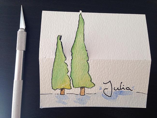 Tischdekoration und Namensschilder für Weihnachten basteln
